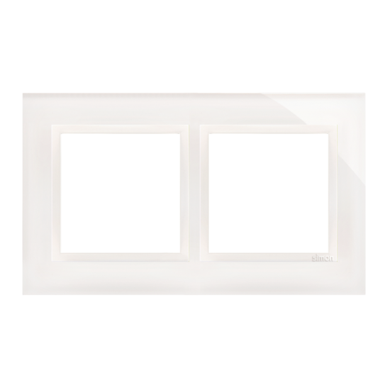 Simon 54 Nature- Ramka 2- krotna szklana biała perła