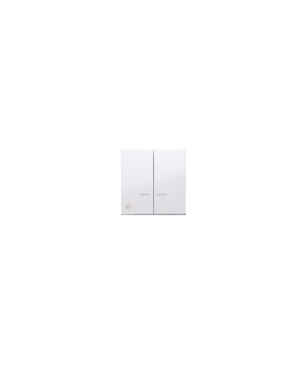 Simon 54 Klawisze podwójne z oczkiem do mechanizmów: SW6/2XLM, SW7/2XM, SW6P1M antybakteryjny biały  DKW9L/AB11