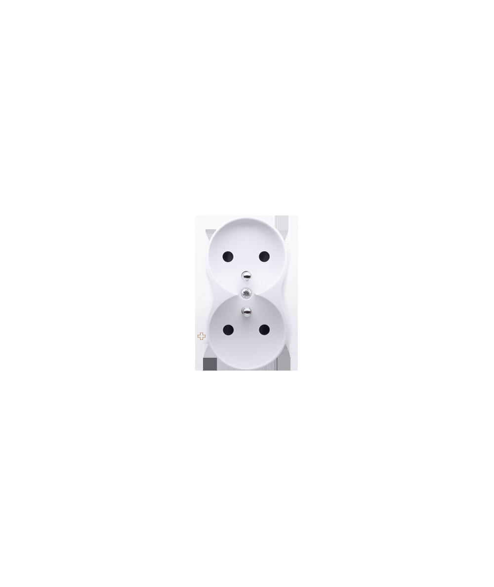 Simon 54 Pokrywa do gniazda wtyczkowego podwójnego z uziemieniem - do ramek PREMIUM antybakteryjny biały  DGZ2MZP/AB11