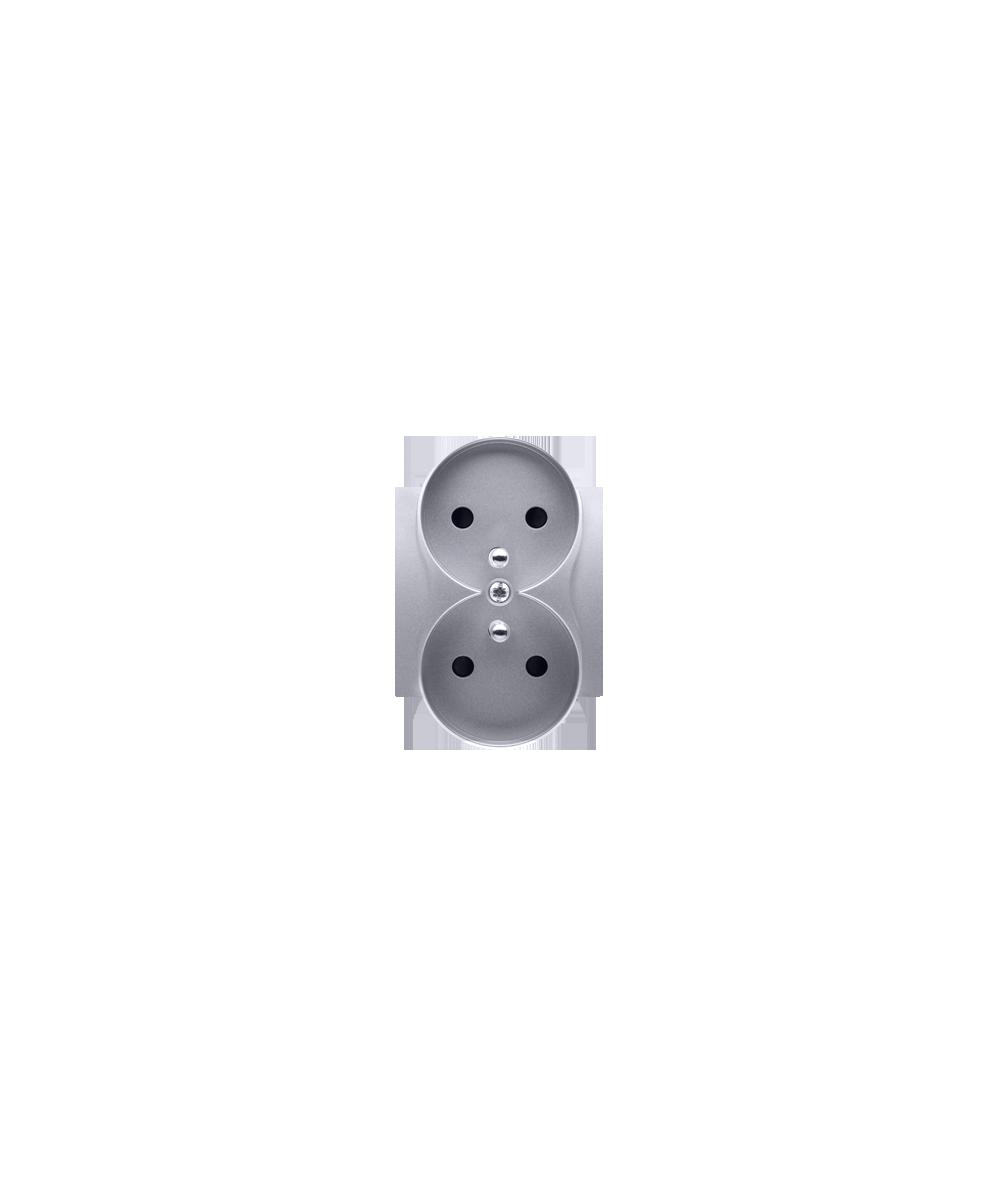 Simon 54 Pokrywa do gniazda wtyczkowego podwójnego z uziemieniem - do ramek PREMIUM srebrny mat, metalizowany  DGZ2MZP/43