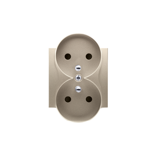 Simon 54 Pokrywa do gniazda wtyczkowego podwójnego z uziemieniem - do ramek PREMIUM złoty mat, metalizowany  DGZ2MZP/44