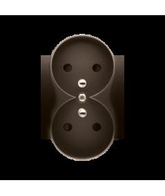 Simon 54 Pokrywa do gniazda wtyczkowego podwójnego z uziemieniem - do ramek PREMIUM brąz mat, metalizowany  DGZ2MZP/46