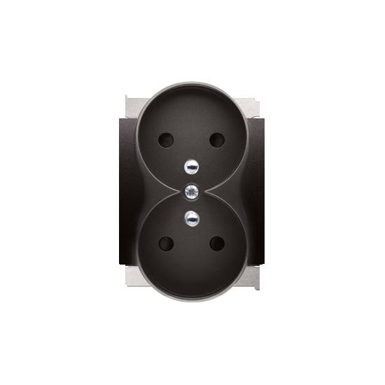 Simon 54 Pokrywa do gniazda wtyczkowego podwójnego z uziemieniem - do ramek PREMIUM antracyt, metalizowany  DGZ2MZP/48