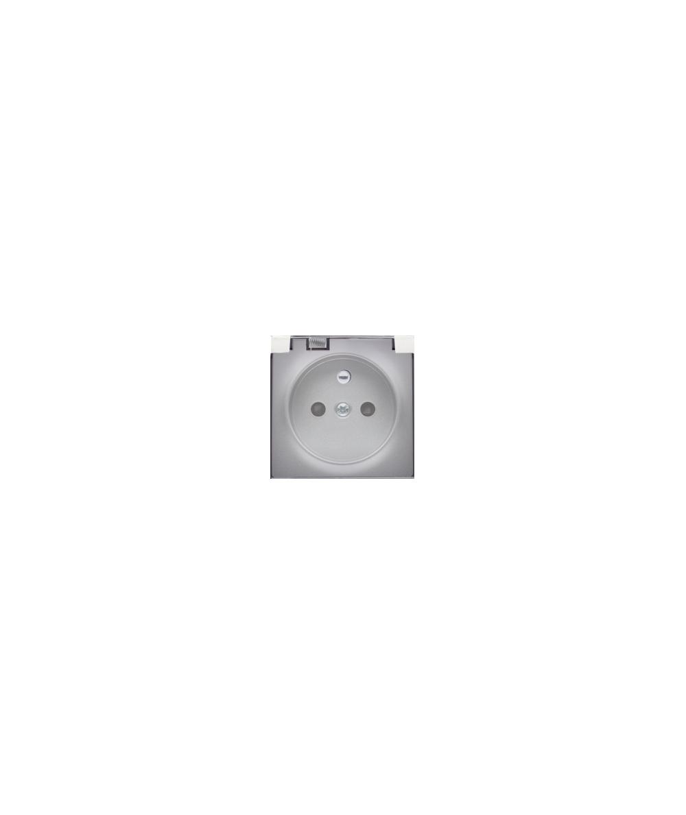 Simon 54 Pokrywa gniazda pojedynczego z klapką w kolorze transparentnym srebrny mat  DGZ1BUZP/43A
