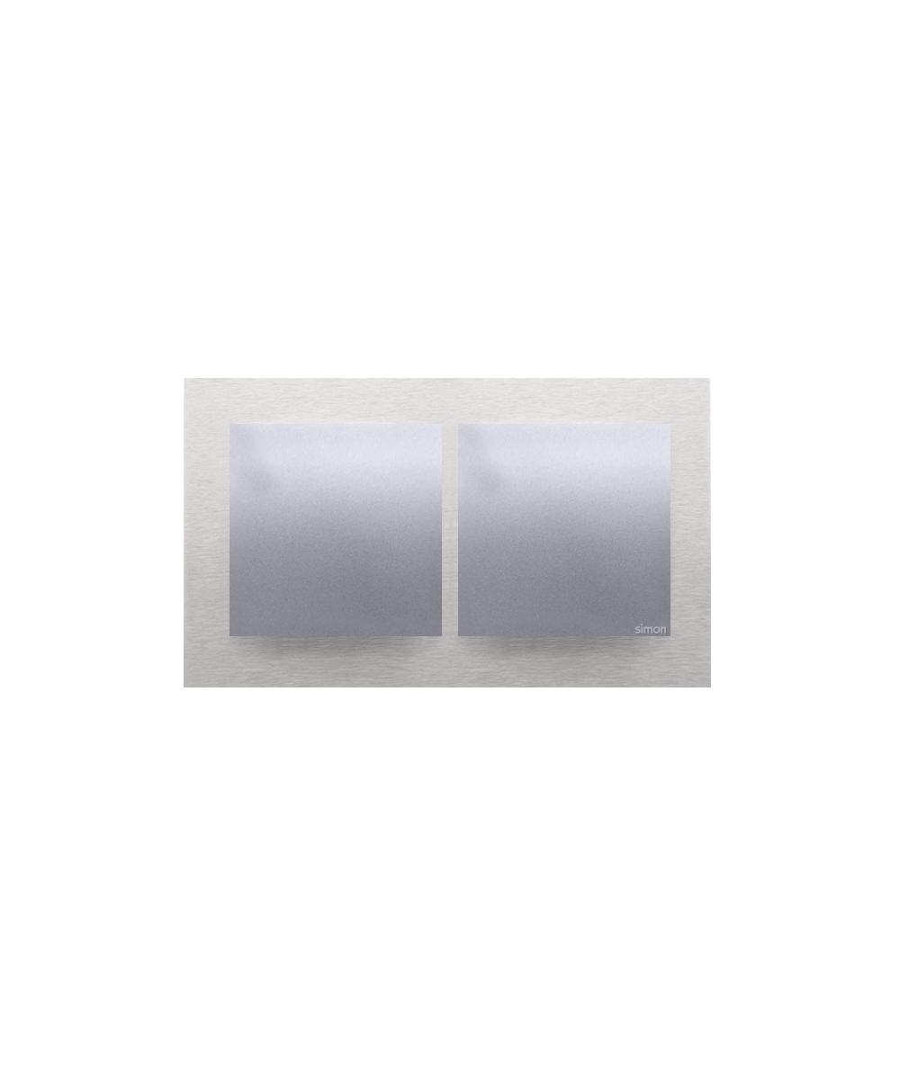 Simon54 Nature- Ramka 2- krotna metalowa inox klasyczny