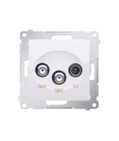 Simon 54 Gniazdo antenowe SAT-SAT-RTV satelitarne podwójne tłum.:1dB biały  DASK2.01/11