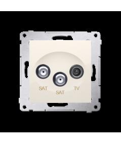 Simon 54 Gniazdo antenowe SAT-SAT-RTV satelitarne podwójne tłum.:1dB kremowy  DASK2.01/41