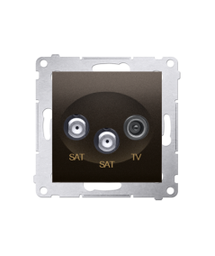 Simon 54 Gniazdo antenowe SAT-SAT-RTV satelitarne podwójne tłum.:1dB brąz mat, metalizowany  DASK2.01/46