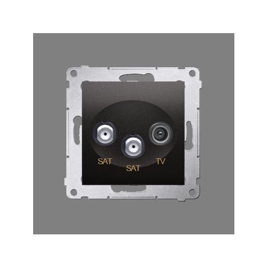 Simon 54 Gniazdo antenowe SAT-SAT-RTV satelitarne podwójne tłum.:1dB antracyt, metalizowany  DASK2.01/48
