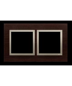 Simon 54 Nature- Ramka 2- krotna drewniana złote wenge