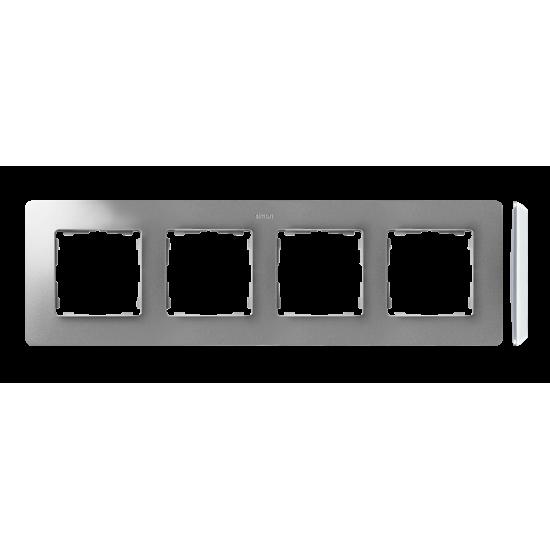 Simon 82 Detail ORIGINAL Ramka 4-krotna aluminium biały  8200640-093