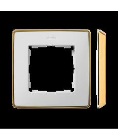 Simon 82 Detail SELECT Ramka 1-krotna biały złoty   8201610-245