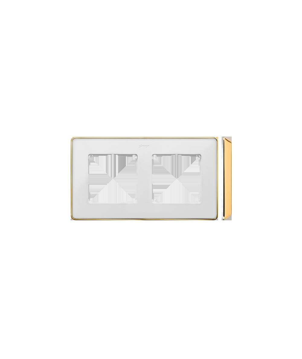 Simon 82 Detail SELECT Ramka 2-krotna biały złoty  8201620-245