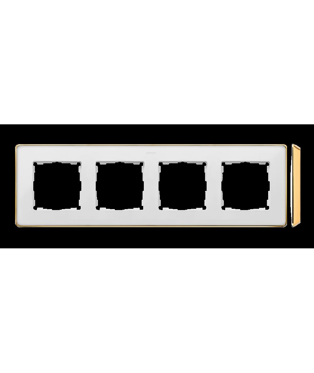 Simon 82 Detail SELECT Ramka 4-krotna biały złoty  8201640-245