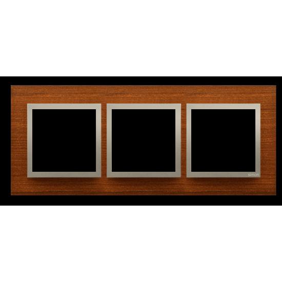 Simon 54 Nature- Ramka 3- krotna drewniana złoty orzech