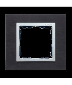 Simon 82 NATURE Ramka 1-krotna metalowa inox czarny / aluminium  82917-38