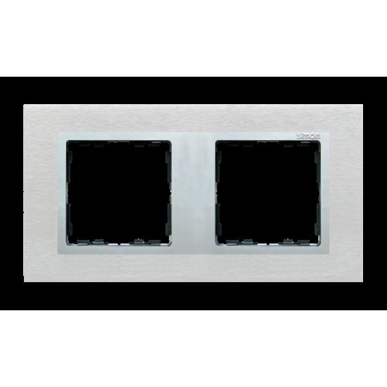 Simon 82 Ramka 2-krotna metalowa inox mat / aluminium  82927-34