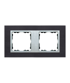 Simon 82 NATURE Ramka 2-krotna metalowa inox czarny / aluminium  82927-38