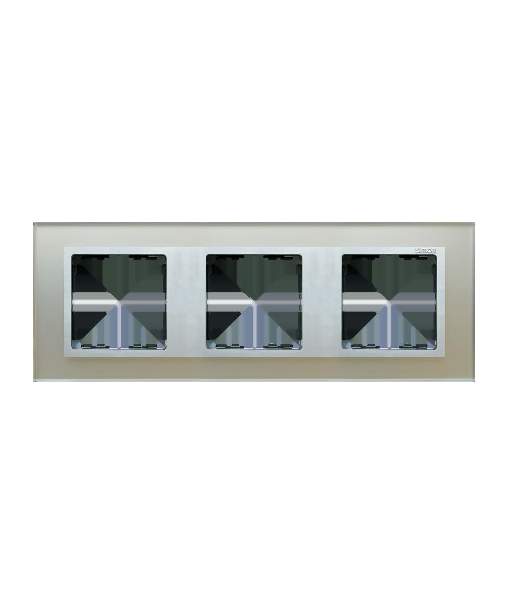 Simon82 NATURE Ramka 3-krotna szklana srebro / aluminium  82937-62