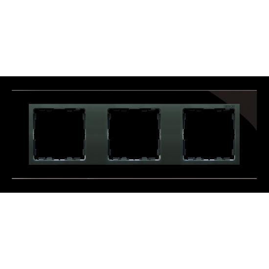 Simon 82 NATURE Ramka 3-krotna szklana czarna / grafit  82837-32