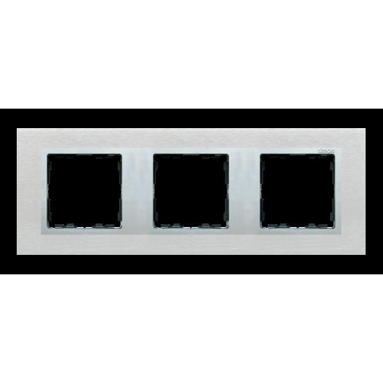 Simon 82 NATURE Ramka 3-krotna metalowa inox mat / aluminium  82937-34