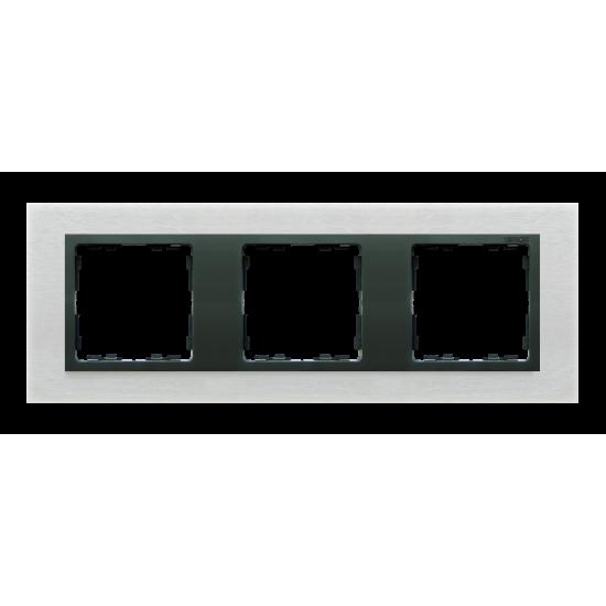 Simon 82 NATURE Ramka 3-krotna metalowa inox mat / grafit  82837-31