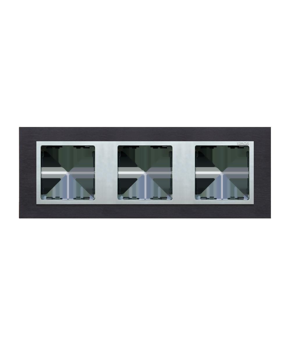 Simon 82 NATURE Ramka 3-krotna metalowa inox czarny / aluminium  82937-38