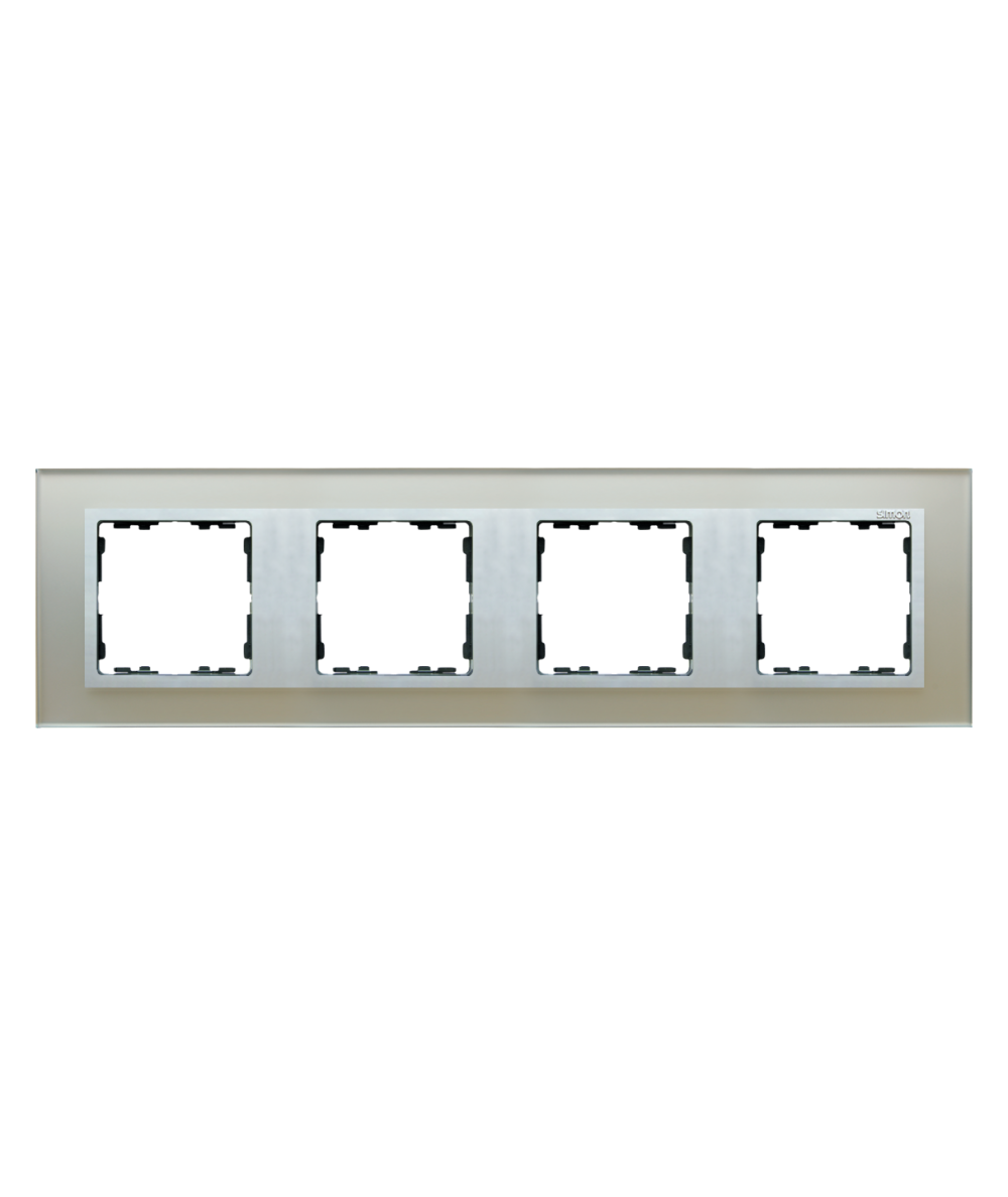 Simon 82 NATURE Ramka 4-krotna szklana srebro / aluminium  82947-62