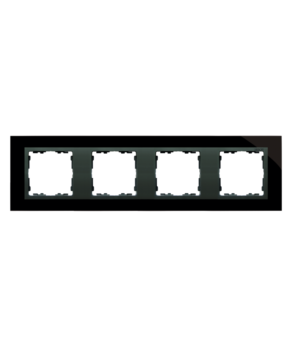 Simon 82 NATURE Ramka 4 krotna szklana czarna / grafit  82847-32