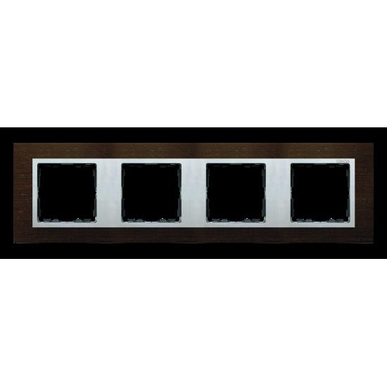 Simon 82 NATURE Ramka 4-krotna wenge / aluminium mat  82947-65