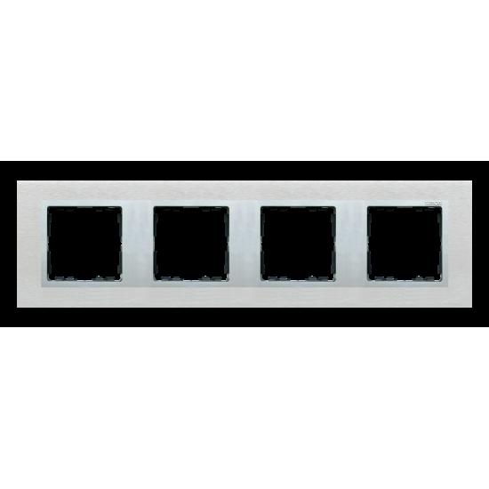 Simon 82 NATURE Ramka 4-krotna metalowa inox mat / aluminium  82947-34