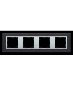 Simon 82 NATURE Ramka 4-krotna metalowa inox czarny / aluminium  82947-38