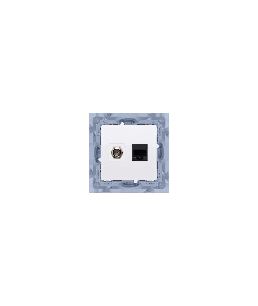 """Simon 10 Gniazdo antenowe typu """"F"""" + komputerowe RJ45 kat.5e biały  CASFRJ455.01/11"""