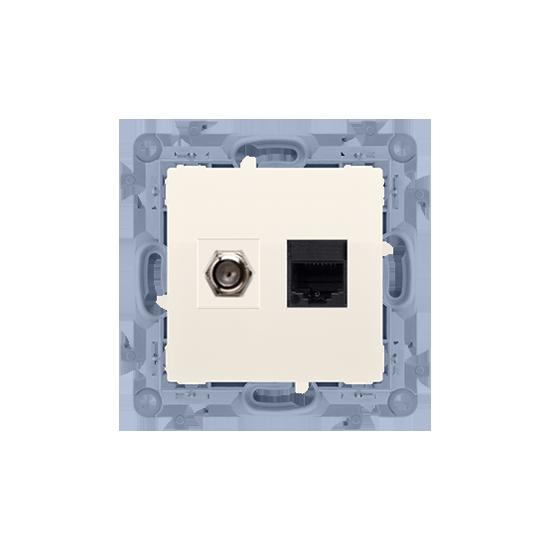"Simon 10 Gniazdo antenowe typu ""F"" + komputerowe RJ45 kat.5e kremowy  CASFRJ455.01/41"