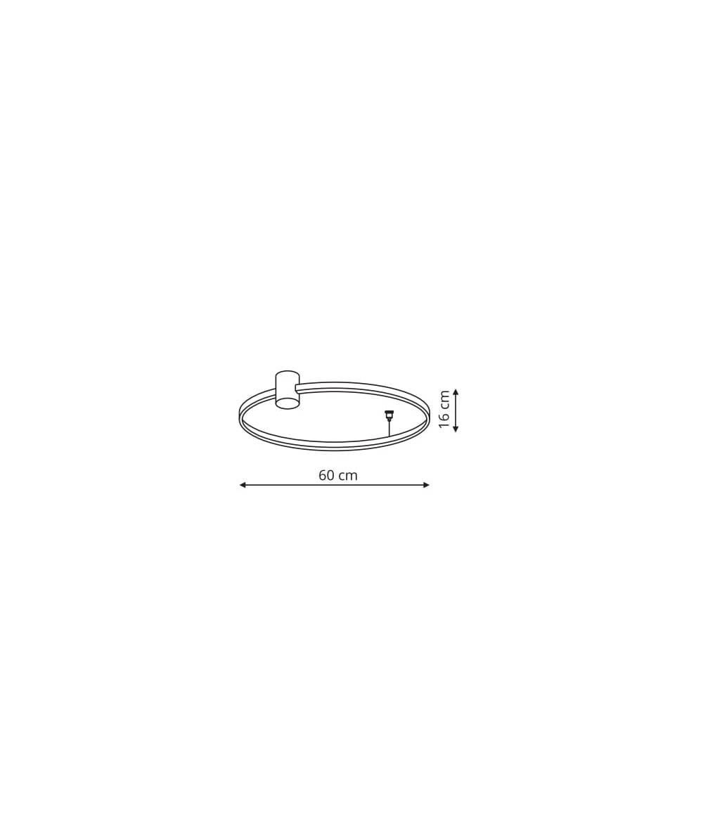 Ring plafon S czarny 3000K