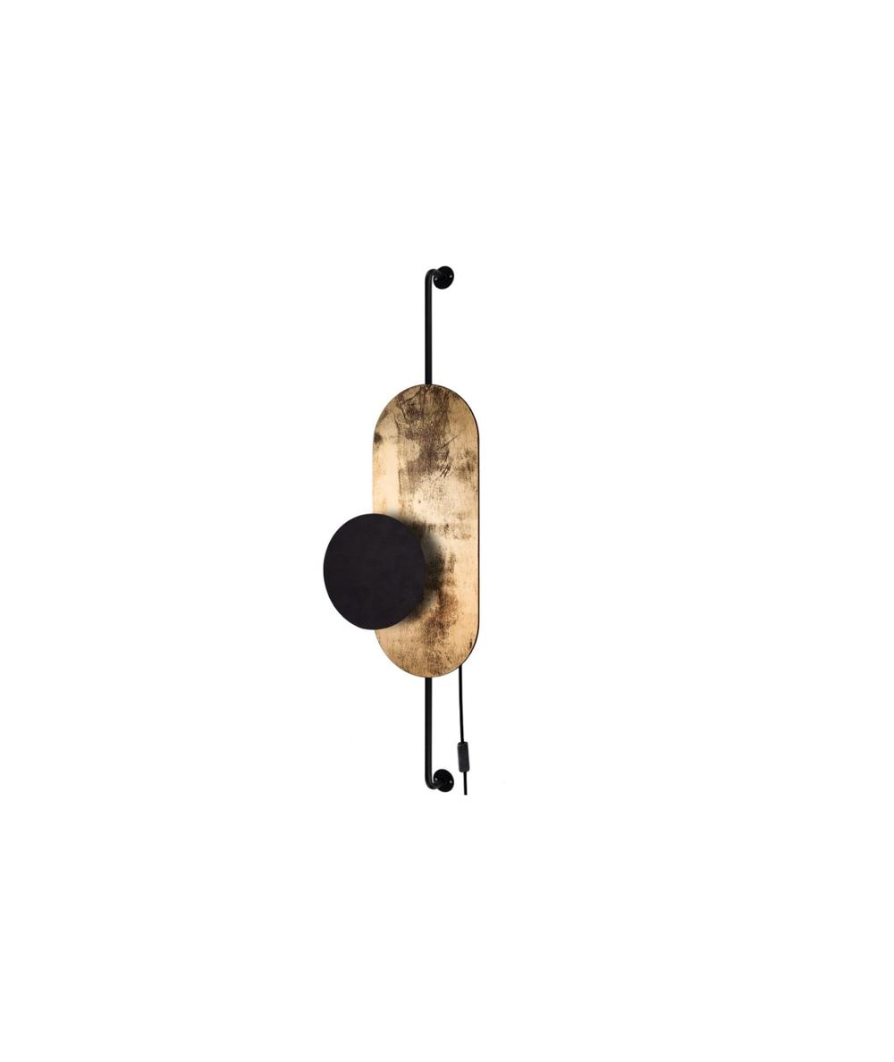 Nowodvorski - Nowoczesny kinkiet z włącznikiem WHEEL LUX BLACK-GOLD - 8430