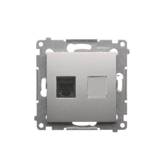 Simon 54 - Gniazdo telefoniczne pojedyncze RJ12 srebrny mat, metalizowany - DT1.01/43