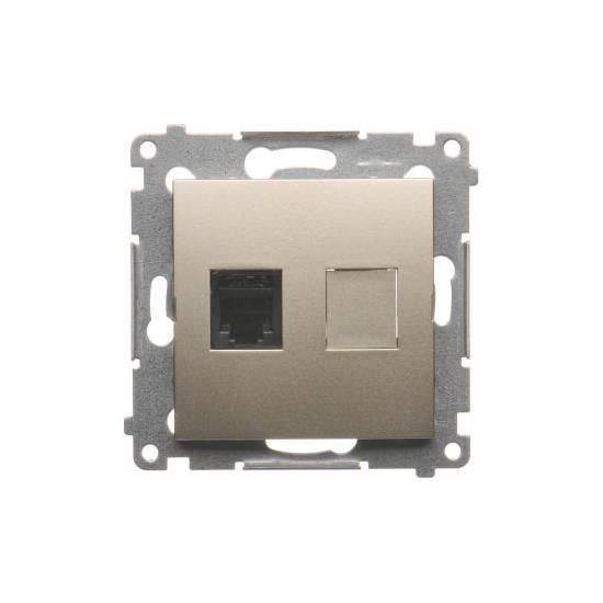 Simon 54 - Gniazdo telefoniczne pojedyncze RJ12 złoty mat, metalizowany- DT1.01/41
