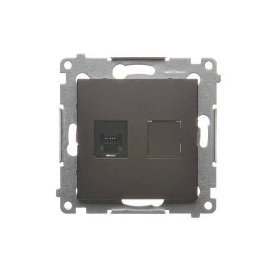 Simon 54 - Gniazdo telefoniczne pojedyncze RJ12 brąz mat, metalizowany- DT1.01/46