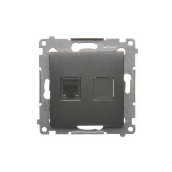 Simon 54 - Gniazdo telefoniczne pojedyncze RJ12 antracyt, metalizowany- DT1.01/48