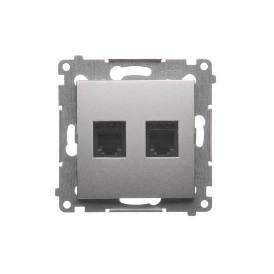 Simon 54 - Gniazdo telefoniczne podwójne RJ12 srebrny mat, metalizowany - DT2.01/43