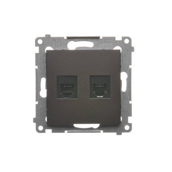 Simon 54 - Gniazdo telefoniczne podwójne RJ12 brąz mat, metalizowany - DT2.01/46