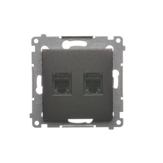 Simon 54 - Gniazdo telefoniczne podwójne RJ12 antracyt, metalizowany - DT2.01/48
