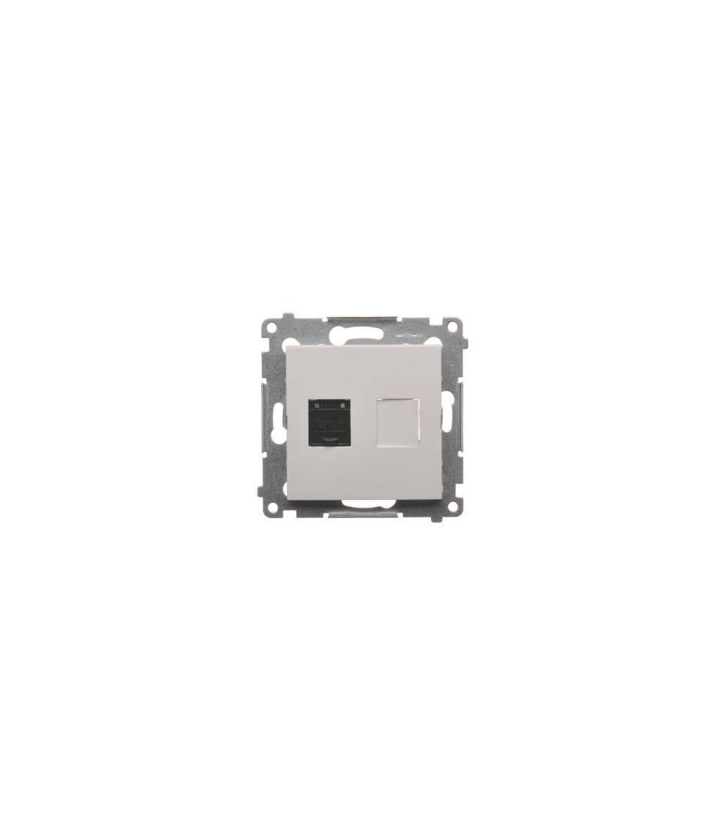 Simon 54 - Gniazdo komputerowe pojedyncze RJ45 kategoria 6, z przesłoną przeciwkurzową biały - D61.01/11