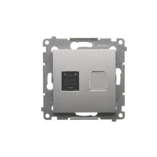 Simon 54 - Gniazdo komputerowe pojedyncze RJ45 kategoria 6, z przesłoną przeciwkurzową srebrny mat, metalizowany - D61.01/43