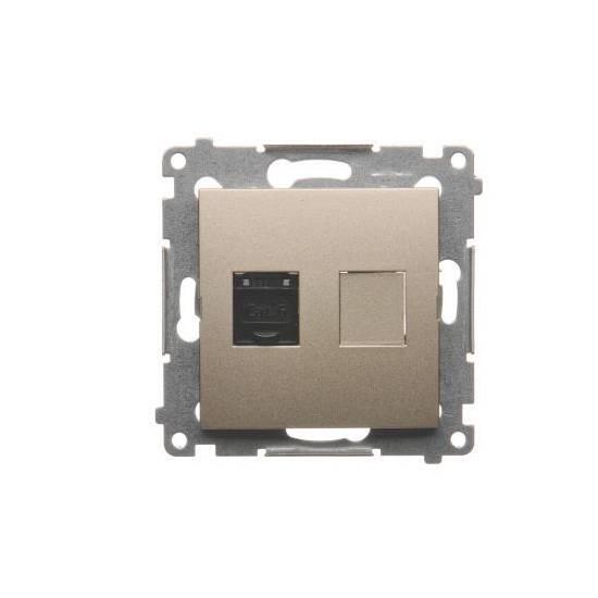 Simon 54 - Gniazdo komputerowe pojedyncze RJ45 kategoria 6, z przesłoną przeciwkurzową złoty mat, metalizowany - D61.01/44