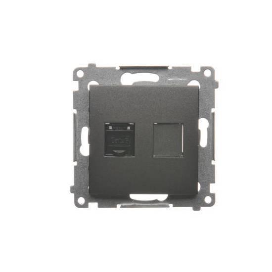 Simon 54 - Gniazdo komputerowe pojedyncze RJ45 kategoria 6, z przesłoną przeciwkurzową antracyt, metalizowany - D61.01/48