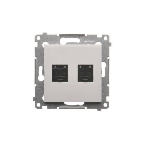 Simon 54 - Gniazdo komputerowe podwójne RJ45 kategoria 6, z przesłoną przeciwkurzową biały - D62.01/11