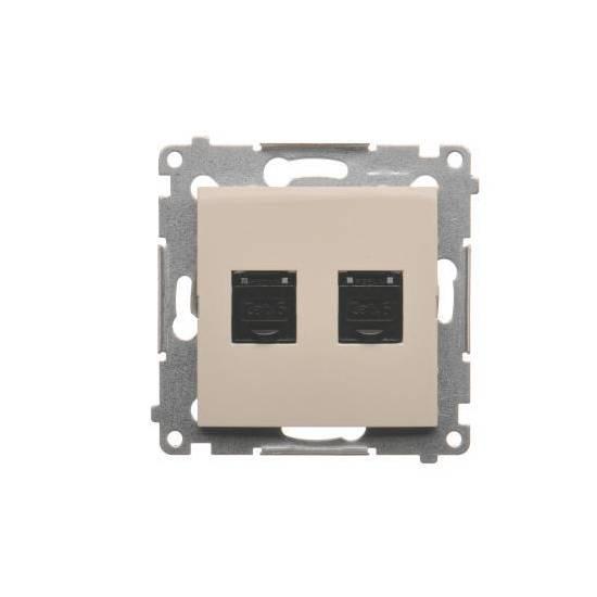 Simon54 - Gniazdo komputerowe podwójne RJ45 kategoria 6, z przesłoną przeciwkurzową kremowy - D62.01/41