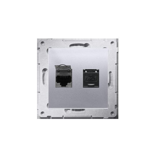 Simon 54 - Gniazdo komputerowe podwójne RJ45 kategoria 6, z przesłoną przeciwkurzową srebrny mat, metalizowany - D62.01/43